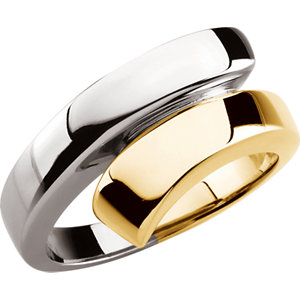 Fashion Rings , 18K Rose & Platinum Bypass Ring
