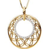 Diamond Openwork Circle Necklace or Pendant