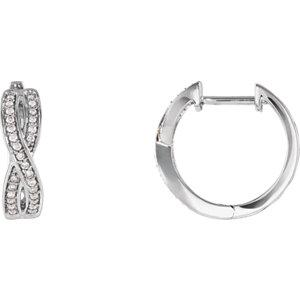 14K White 1/5 CTW Diamond Infinity-Inspired Hoop Earrings