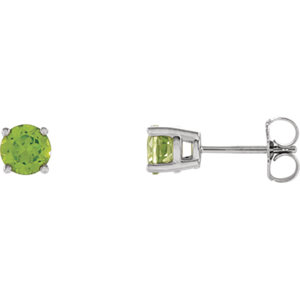 14K White 5mm Round Peridot Friction Post Stud Earrings