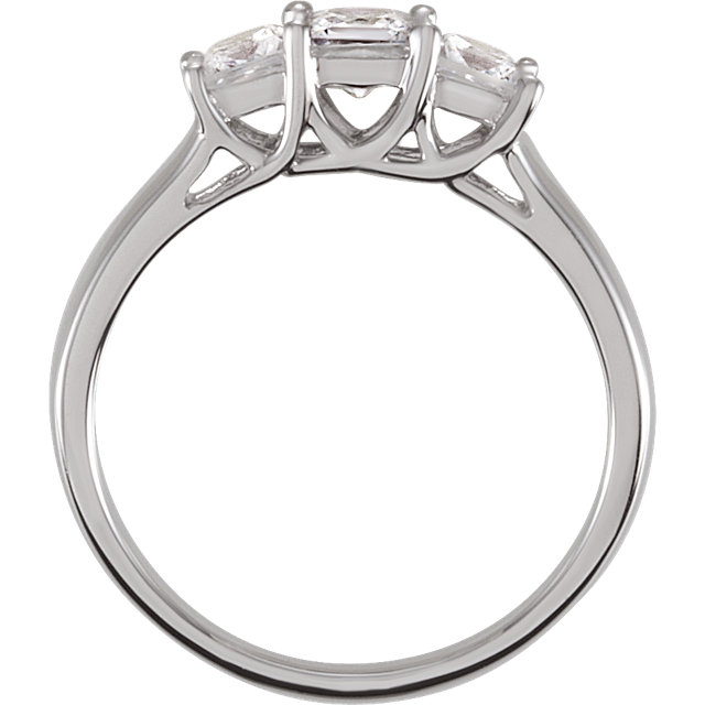 Sterling Silver Cubic Zirconia Three-Stone Ring Size 6