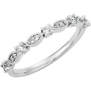 14K White 1/5 CTW Diamond Granulated Stackable Ring Size 7