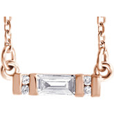 Charles & Colvard Moissanite® & Diamond Accented Bar Necklace