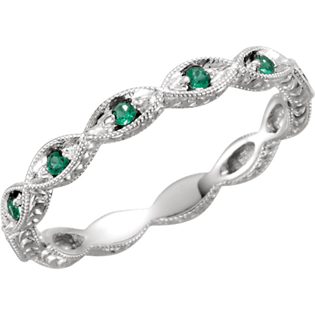 14K White Emerald Anniversary Band Size 7