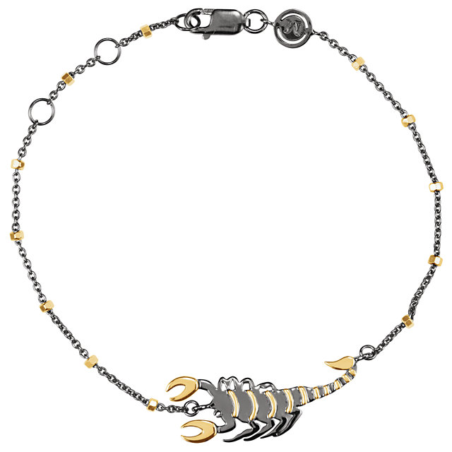 18K Yellow Vermeil & Black Rhodium-Plated Scorpion Symbol for Passion 7.5
