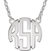 15mm 3-Letter Block Monogram Necklace