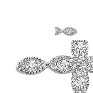 Pendant, 14K White 1/10 Diamond Cross Pendant