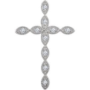 Pendant, 14K White 1/10 Diamond Cross Pendant