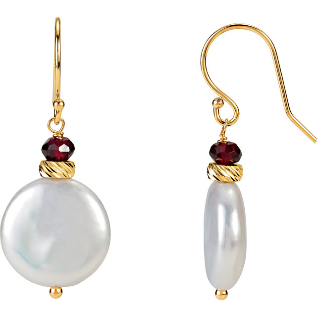 14K Yellow Freshwater Cultured Coin Pearl & Rhodolite Garnet Earrings