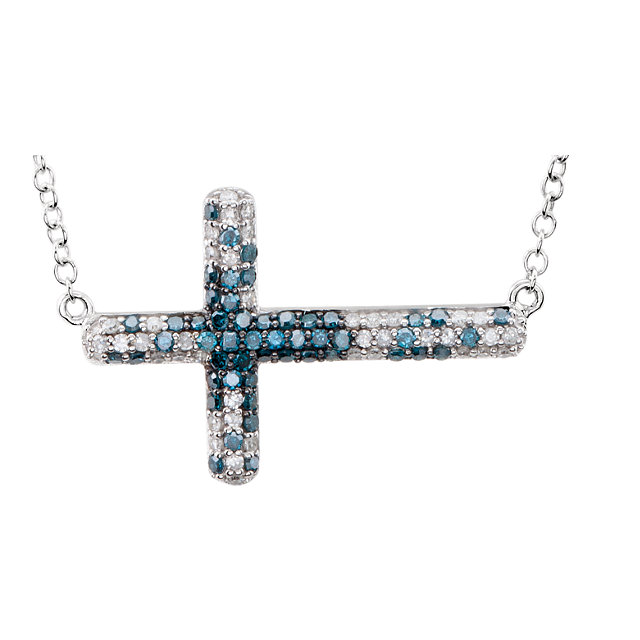 14K White 3/8 CTW Diamond Sideways Cross 18
