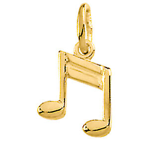 Charm / Pendant, 14K Yellow Musical Note Charm