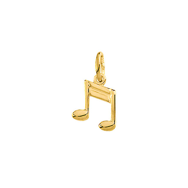 14K Yellow Musical Note Charm