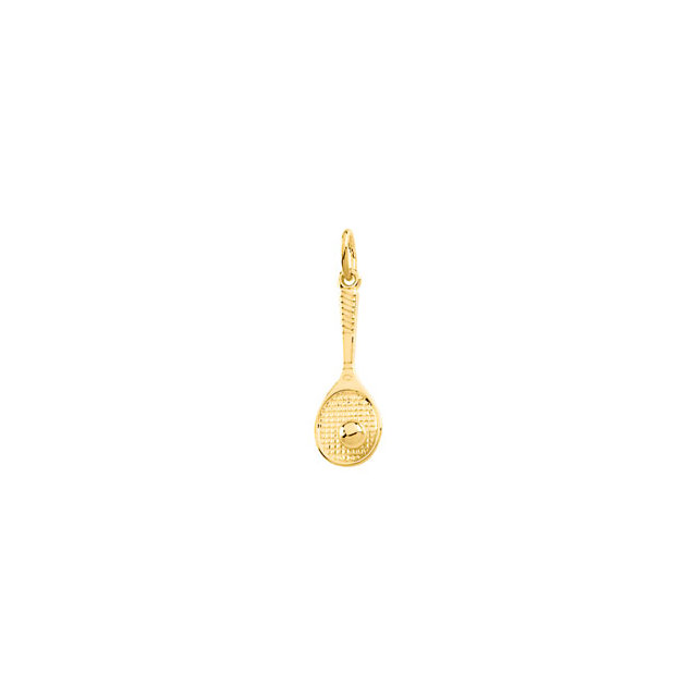 14K Yellow Tennis Racquet Charm