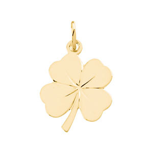 Charm / Pendant, 14K Yellow 18x14mm 4 Leaf Clover Charm