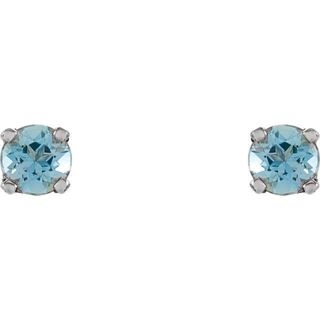 Sterling Silver 3 mm Round Imitation Blue Zircon Youth Birthstone Earrings