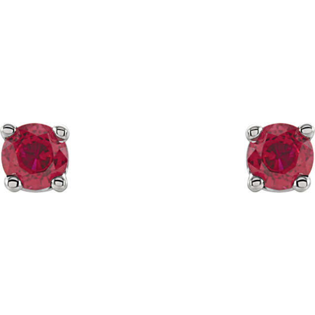14K White 2.5 mm Round Ruby Earrings