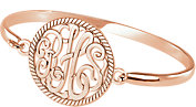 Sterling Silver Plated with 14K Rose 28mm 3-Letter Script Monogram Bangle Bracelet