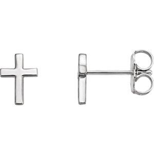 14K White Cross Earrings