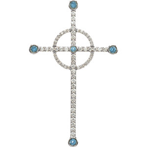 Pendant, 14K White Swiss Blue Topaz & 1/2 CTW Diamond Cross Pendant