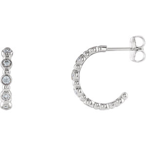 14K White 3/8 CTW Diamond Beaded Hoop Earrings