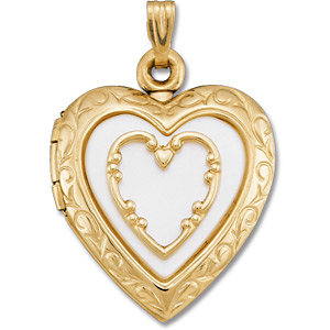 14K Yellow Mother of Pearl Heart Locket