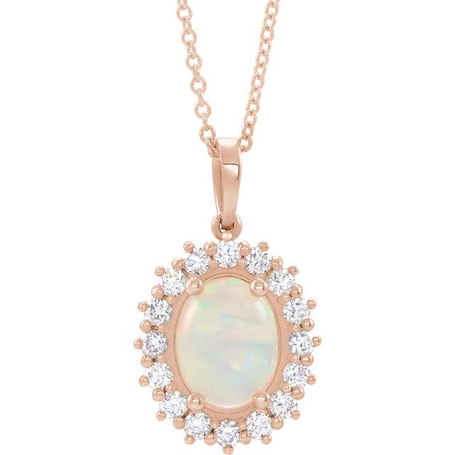 14K Rose Ethiopian Opal & 1/2 CTW Diamond Halo-Style 16-18