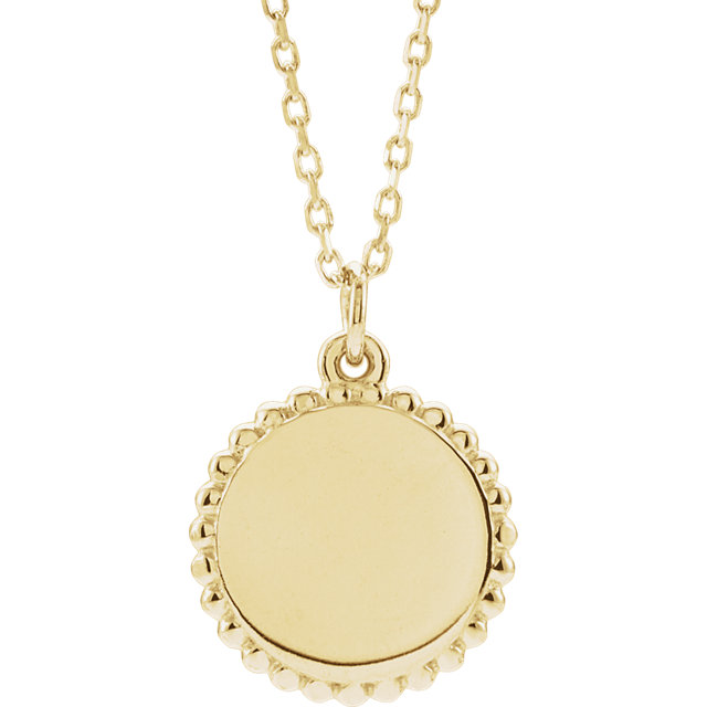 18K Yellow Gold-Plated Sterling Silver Engravable Round Beaded 16-18