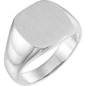 Fashion Rings , 18K White 14mm Men's Signet Ring with Brush Top Finish