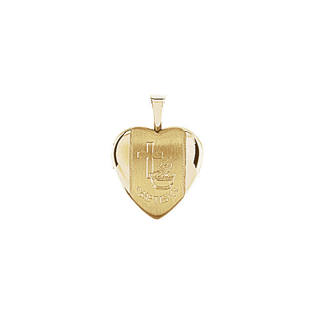 14K Yellow Gold-Plated Sterling Silver Baptism Heart Locket