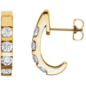 14K Yellow 1 1/4 CTW Diamond Earrings