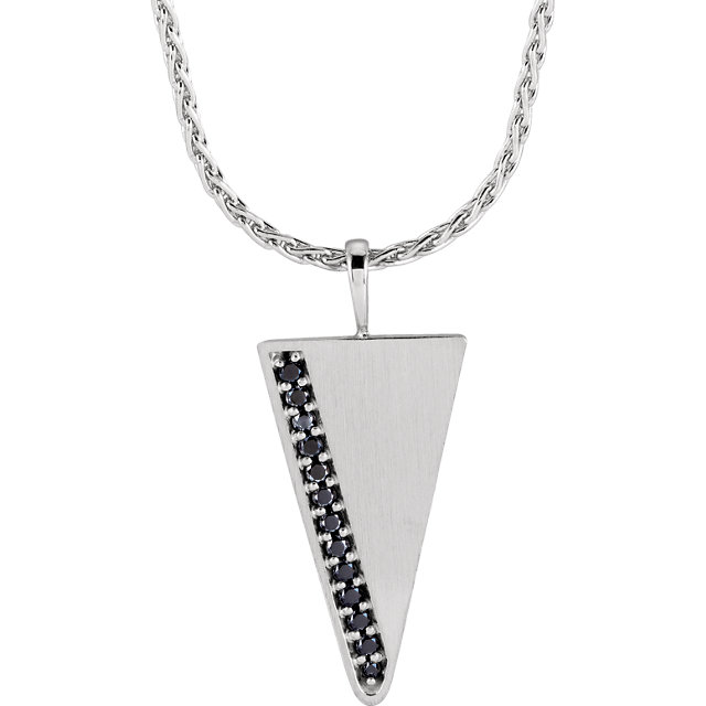 14K White 1/5 CTW Black Diamond Men-s Triangle 24