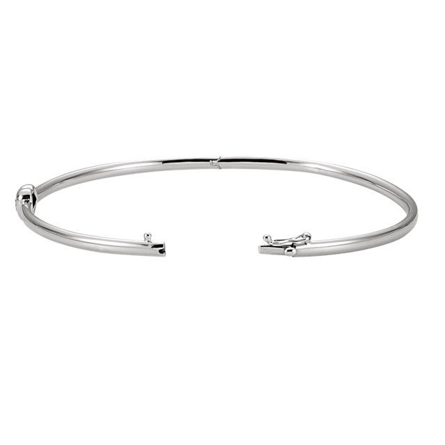 14K White .03 CTW Diamond Bangle Bracelet