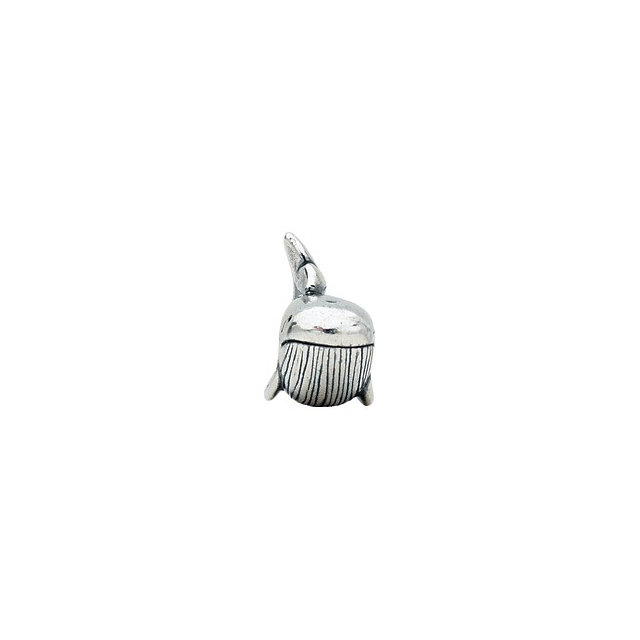 Sterling Silver 14.25x12.75mm Whale Bead