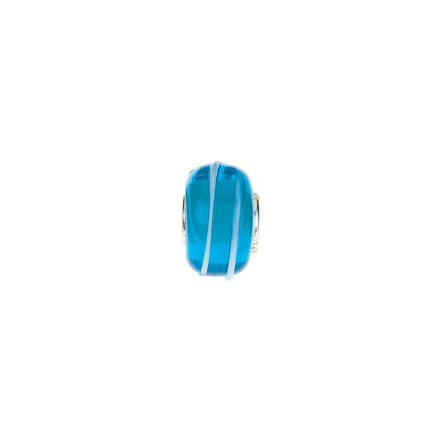 Sterling Silver 15x9 mm Turquoise Bead with Blue Stripes