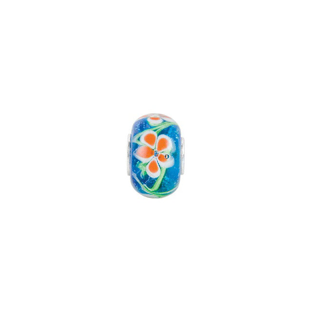 Sterling Silver 14x10 mm Blue with Orange Flower Glass Bead