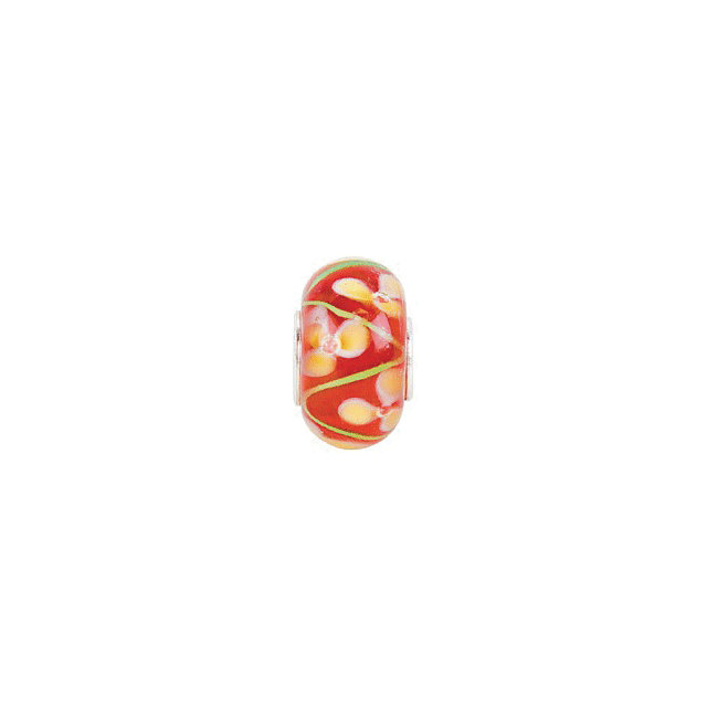 Sterling Silver 14x10 mm Red with Yellow Flower Glass Bead