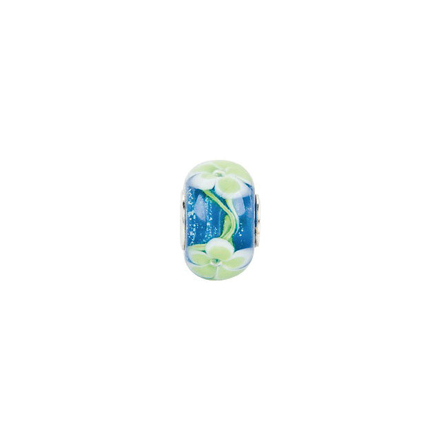 Sterling Silver 15x10 mm Blue with Green Flower Glass Bead