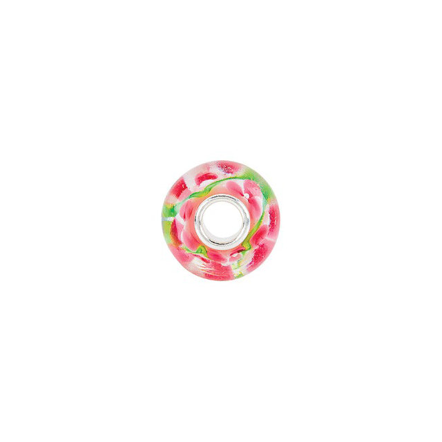 Sterling Silver 14x10 mm Pink and Green Flower Glass Bead