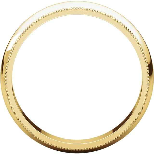 14K Yellow 4 mm Milgrain Half Round Band Size 7
