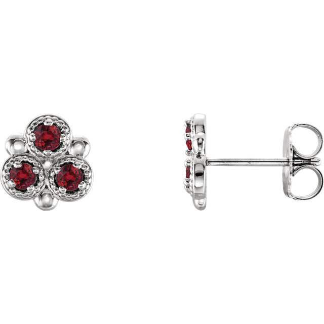 14K White Chatham® Created Ruby Three-Stone Earrings