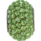 Kera® Roundel Bead with Pave'  Peridot Crystals