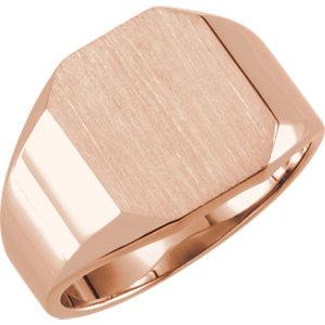 Fashion Rings , 14K Rose 12x10mm Octagon Signet Ring