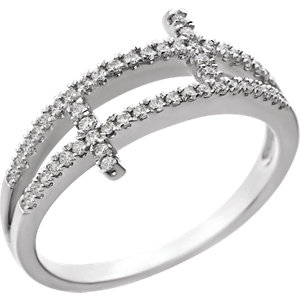 Sterling Silver Cubic Zirconia Sideways Cross Ring Size 6