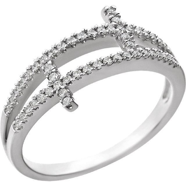 Sterling Silver Cubic Zirconia Sideways Cross Ring Size 6