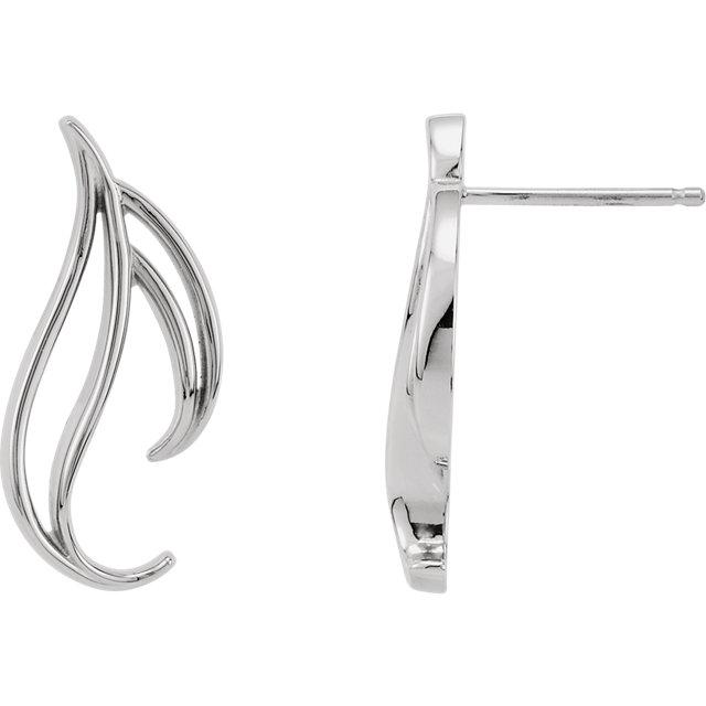 1e81726dd2a17 Sterling Silver & 14K White Left Freeform Earring - 80392-62572-P