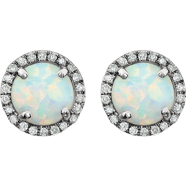 14K White Created Opal & 1/8 CTW Diamond Earrings