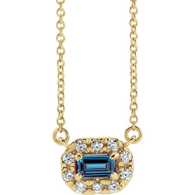 14K Yellow Chatham® Created Alexandrite & 1/8 CTW Diamond 18