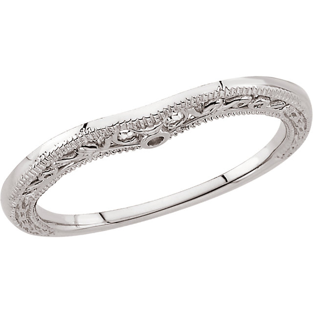 14K White Granulated Scroll Design Curved Band
