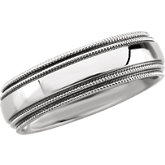 Stainless Steel Double Milgrain Band