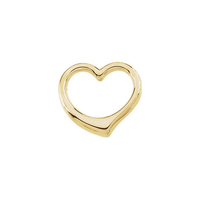 14K Yellow 12.25x12.5mm Heart Chain Slide